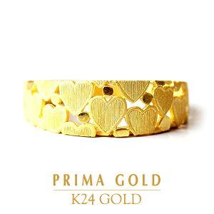 24K 純金 透かし模様 ハートリング 指輪 24金 K24 ゴールド レディース プレゼント 贈り物 女性 PRIMAGOLD プリマゴールド ジュエリー アクセサリー ブランド 送料無料