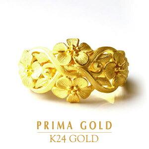 24K 純金 フラワー リング 指輪 24金 K24 ゴールド 花 エレガント レディース プレゼント 贈り物 女性 PRIMAGOLD プリマゴールド ジュエリー アクセサリー ブランド 送料無料