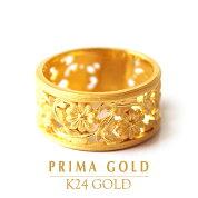 純金24K指輪コスモスフラワー花リングレディース女性イエローゴールド記念日誕生日贈物24金ジュエリーアクセサリーブランドプリマゴールドPRIMAGOLDK24送料無料