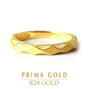 純金24K指輪ダイヤカット太身リングレディース女性イエローゴールドプレゼント誕生日贈物24金ジュエリーアクセサリーブランドプリマゴールドPRIMAGOLDK24送料無料
