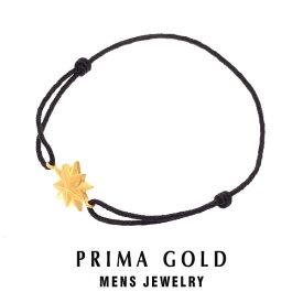 【あす楽】K24 純金 メンズ スターモチーフ ブレスレット Blackコード 男性 24金 イエローゴールド ジュエリー PRIMAGOLD プリマゴールド 送料無料