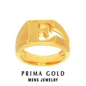 純金 24K アルファベット イニシャル E 印台リング 指輪 メンズ 男性 イエローゴールド プレゼント 誕生日 記念日 贈物 24金 ジュエリー アクセサリー ブランド プリマゴールド PRIMAGOLD K24 送料