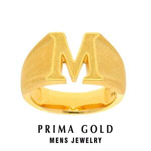 純金 24K アルファベット イニシャル M 印台リング 指輪 メンズ 男性 イエローゴールド プレゼント 誕生日 記念日 贈物 24金 ジュエリー アクセサリー ブランド プリマゴールド PRIMAGOLD K24 送料