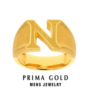 純金 24K アルファベット イニシャル N 印台リング 指輪 メンズ 男性 イエローゴールド プレゼント 誕生日 記念日 贈物 24金 ジュエリー アクセサリー ブランド プリマゴールド PRIMAGOLD K24 送料