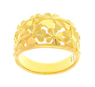 純金指輪クローバー四つ葉リングレディース女性イエローゴールドギフトプレゼント誕生日贈物24金ジュエリーアクセサリーブランド地金品質保証人気プリマゴールドPRIMAGOLDK24送料無料