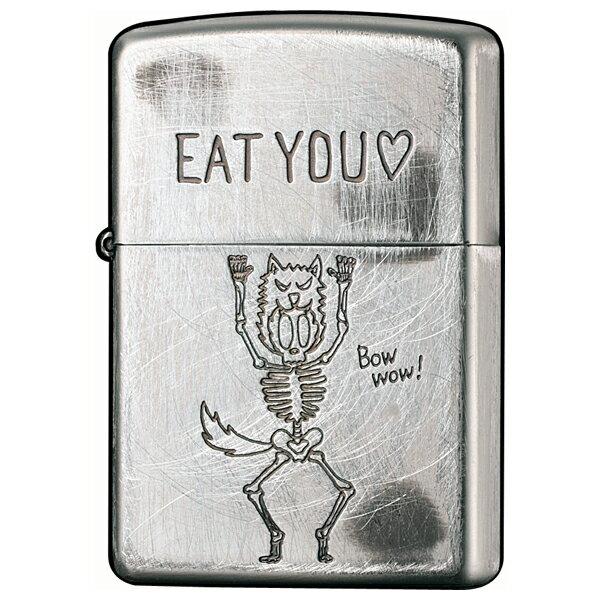 【ジッポ】(ジッポー)ライター メタル・彫刻:FUNNY SKULL 2UDS-EAT シルバー ユーズド加工プレゼントZIPPO