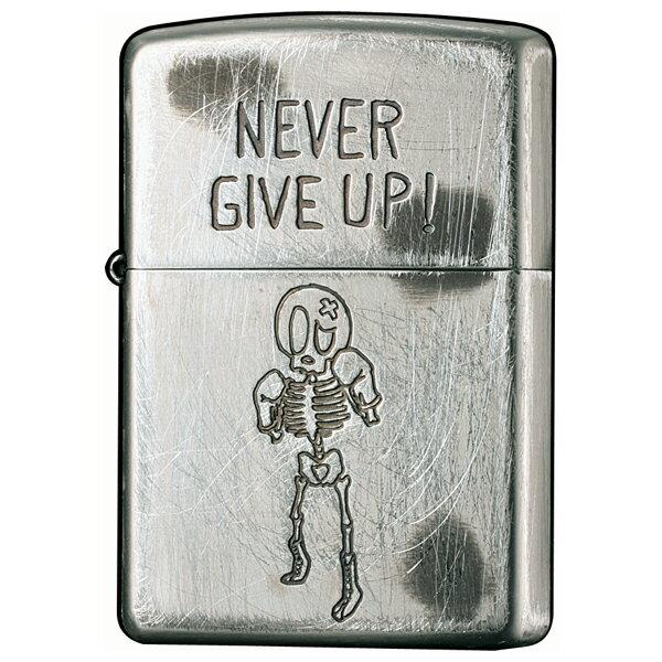 【ジッポ】(ジッポー)ライター メタル・彫刻:FUNNY SKULL 2UDS-GIVEUP シルバー ユーズド加工プレゼントZIPPO