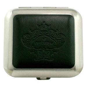 革貼りスクエア高級携帯灰皿:Orobianco(オロビアンコ)ブランド ORA-24bk レザーブラック[日本製](ブランドタグ・印章・)セット。高級ケース入り【ギフト】【プレゼント】【プレゼント ギフト