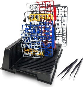 ガンプラ スタンド ( L字型 ピンセット 2個付き ) ランナースタンド プラモデル 工具 パーツ 塗装ブース (最大25枚立てかけ可能!) スプレーブース プラモ 塗装スタンド ワークステーションpro