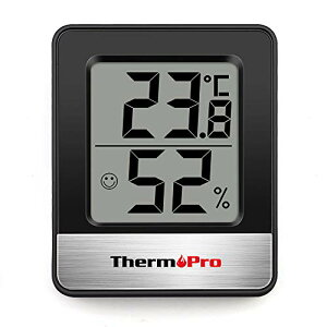 ThermoPro温度計 湿度計室内 小さい温湿度計デジタル 見やすい ブラックTP49