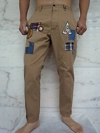 "DSQUARED2(ディースクエアード)【SCOUT PATCH HOCKNEY PANTS】""COTTON TWILL HOCKNEY FIT""""パッチワーク""コットンチノPants☆KAKY★"
