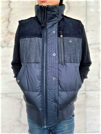 """G-STAR RAW[ジースター]【DENIM MIX QUILTED PUFFER VEST】""""NAMIC LITE RECYCLED WATER REPELLANT""""リサイクルナイロン""""パテッド""""ベスト★MAZARINE BLUE★"""