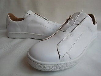 "MARC JACOBS (mark Jacobs) SOLID NAPPA CLASSIC ""no Shoo race"" oar leather slip-on sneakers ☆ WHITE☆"