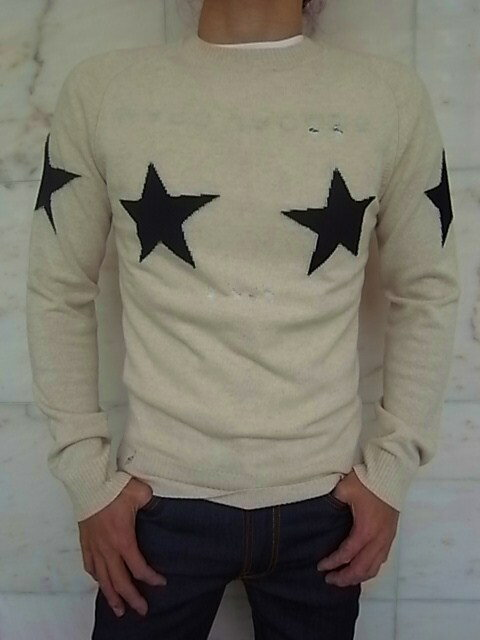"""MARC JACOBS(マーク ジェイコブス)【STAR SWEATER】""""SLIM FIT""""WOOL AND CASHMERE""""デストロイ""""KNIT☆NATURAL COMBO☆"""