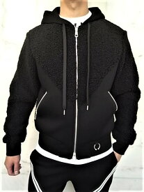 "NeIL BarreTT(ニール バレット)【FAUX FUR×BONDED ZIP UP HOODIE WITH PIERCING】""LOOSE FIT""""フェイクファー×ネオプレーン""ジップアップパーカー★BLACK★"