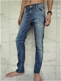 """Nudie Jeans(ヌーディー ジーンズ)【THIN FINN】""""LOW YOKE THIN SKINNY LEGS""""""""AUTHENTIC REPAIR""""ストレッチ混スリムスキニーJeans★"""