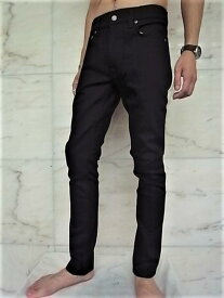 """Nudie Jeans(ヌーディー ジーンズ)【LEAN DEAN】""""Carrot Shape Fit""""""""DRY EVER BLACK""""ストレッチ混スリムストレート""""EVERBLACK""""JEANS★"""