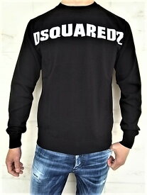 "DSQUARED2(ディースクエアード)【DSQUARED2】""COTTON KNIT""クルーネック""LONG SLEEVES""ニット★BLACK×WHITE☆"