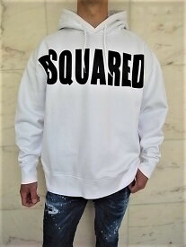 "DSQUARED2(ディースクエアード)【DSQUARED2】""SLOUCH FIT""""オーバーサイジング""HOODED SWEATSHIRT☆WHITE☆"