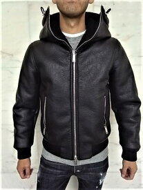 """DSQUARED2(ディースクエアード)【FAUX SHEARLING HOODED BOMBER JACKET】フェイクムートン""""フーデット""""JACKET★"""
