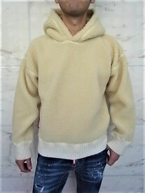 "DSQUARED2(ディースクエアード)【FAUX SHEARLING HOODED SWEATSHIRT】""SLOUCH FIT""オーバーサイジングFLEECE HOODED SWEATSHIRT☆BEIGE☆"