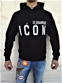"""DSQUARED2(ディースクエアード)【ICON DSQUARED2 HOODED SWEAT】""""COOL FIT""""""""ICON""""スウェットパーカー★BLACK★"""