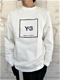 "adidas Y-3(ワイ−スリー)【Y-3 U SQUARE CREW SWEATSHIRT】""Y-3""スクエア""ロゴ""クルーネックスウェット☆CORE WHITE☆"