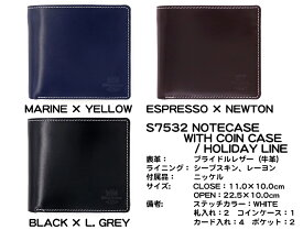 Whitehouse Cox (ホワイトハウスコックス)正規取扱店 コインケース付き二つ折りウォレット ホリデーライン S7532 COIN WALLET Holiday Line
