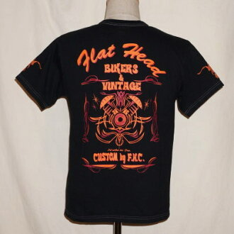 THC-11W-black 14-BIKERS &VINTAGE-THC 11W-FLATHEAD-flat head t-shirt