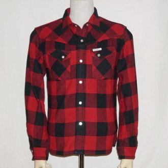 HNW-52W-red - channel block check Western shirt 52 W-HNW 52W-FLATHEAD-flatheadheavynelwesternshats flat head shirt