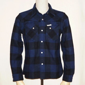 F-SNW-101L-black Navy - block check Western nel 101 L-FSNW 101L-FLATHEAD-flatheadshats - BLOCK CHECK WESTERN NEL SHIRT-Western shirt - check shirt