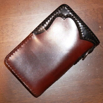 FOW-70- brown black yellow - hand-sewn cordovan leather wallet FOW70-FOW70-FLATHEAD- flat head leather wallet flat head cordovan leather wallet-STOCKBURG-stock Bergh