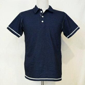 SJIT-102 M-靛蓝-サムライジーンズインディゴポロ 102 M SJIT 102 M-SAMURAIJEANS-サムライジーンズポロ t 恤衫