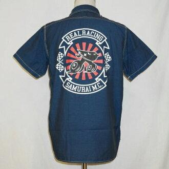 SMWS15-S01- blue - rial racing collaboration work shirt S01-SMWS15S01-SAMURAIJEANS- samurai jeans work shirt - samurai car club work shirt