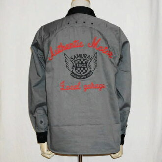 MCDS15-그레이-더블 숄더 워크 셔츠 15-SAMURAIJEANS-사무라이 청바지 워크 셔츠-사무라이 이륜차 클럽 워크 셔츠
