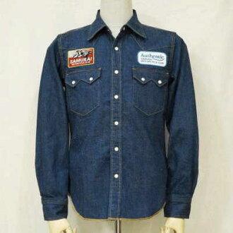 MCWT15-靛蓝-武士摩托车俱乐部西部 15-SAMURAIJEANS-武士牛仔裤西方衬衫,武士牛仔裤衬衫-武士摩托车俱乐部西部衬衫