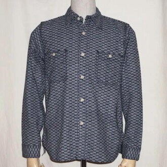 SSS15-L01-海军-绗缝工作衬衫 15-L01-SSS15L01-SAMURAIJEANS-武士牛仔裤 t 恤