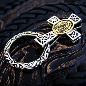 送料無料! so0499 シルバーアクセサリー マリア×十字架×スクロールリングの傑作! メンズ アクセサリー コンチョ 十字架・クロス マリア 真鍮・ブラス