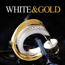 メール便なら送料無料! pi0426 メンズピアス シルバーピアス シルバーアクセサリー ホワイトとゴールドのコントラストが美しい半フープピアス バラ売り シルバー925│フープピアス│ゴールド││ホワイト
