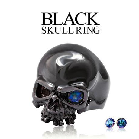 【 送料無料!】 r0688 メンズアクセサリー リング ブラック 魅惑の瞳 ブラックスカルリング スカル ミスティッククォーツ ブラック ブラス