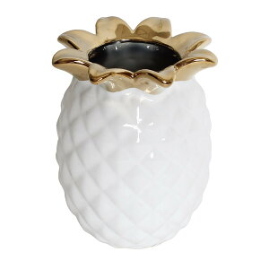フラワーベース パイナップル ホワイト×ゴールド おしゃれ かわいい セラミック 女の子 北欧 フェミニン オブジェ 置物 インテリア雑貨 レディース 可愛い オシャレ 飾り物 姫系 白色 金色