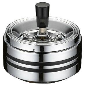 クロームラインII 回転灰皿 中 おしゃれ 卓上 蓋付き フタ付き シンプル かっこいい 業務用 会社用 個人使用