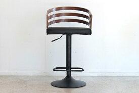 バーチェアー ブラウン 合成皮革 曲木 黒スチール カウンターチェアー ハイチェアー 昇降 椅子 イス いす 食卓チェアー 背もたれ付き カフェ バー 北欧 西海岸 ミッドセンチュリー レトロ モダン おしゃれ