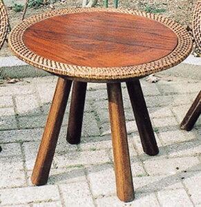 ラタンウッドテーブル カフェテーブル リビングテーブル 机 作業台 アジアンテイスト おしゃれ モダン