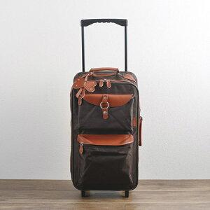 キャリーバッグ ブラウン ポリエステル 合成皮革 着脱式ショルダーベルト長さ調節可 キーホルダー付き シンプル 機能性 収納量 収納性 機能的 旅行カバン 旅行バッグ 旅行バック