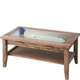 センターテーブル 幅90cm 引き出し 収納 棚付きガラステーブル コレクションテーブル ローテーブル リビングテーブル コーヒーテーブル カフェテーブル 机 つくえ 作業台 木製 木目 モダン 北欧 カントリー アンティーク おしゃれ かわいい