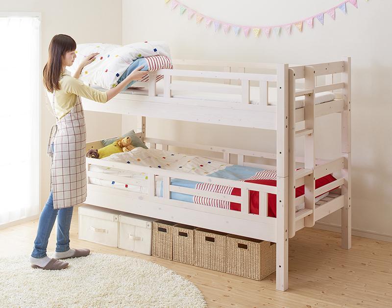 ベッド 2段ベッド (ダブル・ダブル) キニオン 耐荷重150kg 木製ベッド ロータイプベッド コンパクト ベット 二段ベット 2段ベット 床下活用 すのこ床板 エキストラベッド 連結 添い寝 子供用ベッド 子供ベッド 大人用 子供部屋 新入学 すのこ 北欧 (送料無料) 040117229