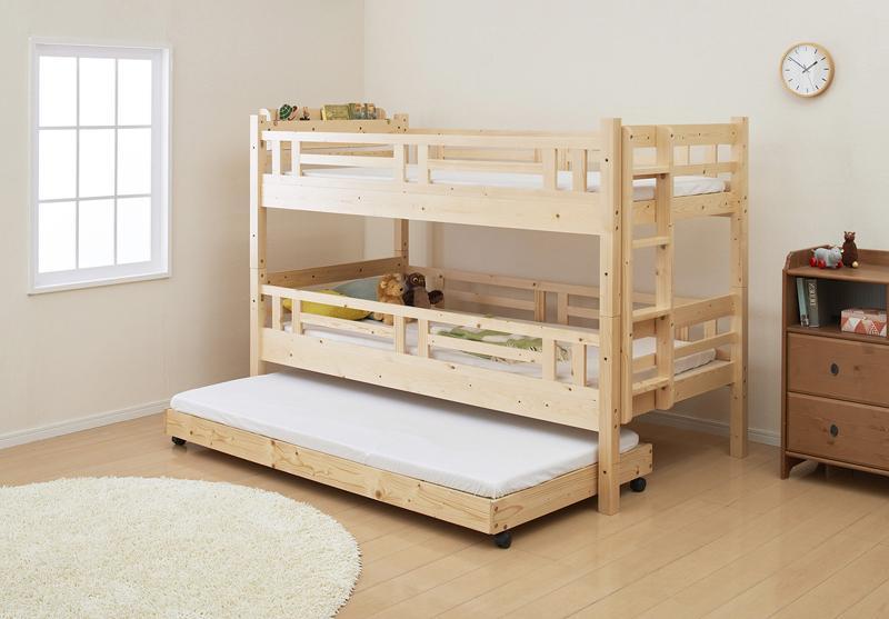 タイプが選べる頑丈ロータイプ収納式3段ベッド【fericica】フェリチカ 三段セット (送料無料)