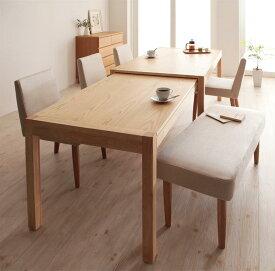 ダイニングセット 6点セット(テーブル+チェア×4+ベンチ×1) スライド伸縮テーブル グライド 6人用 伸長式 伸縮 伸縮式 エクステンションテーブル 食卓テーブルセット 食卓セット キャスター付き 天然木 木製テーブル ワイド おしゃれ 北欧 かわいい (送料無料)