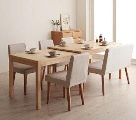 ダイニングセット 6点セット(テーブル+チェア×4+ソファベンチ×1) スライド伸縮テーブル グライド 6人用 伸長式 伸縮 伸縮式 エクステンションテーブル 食卓テーブルセット 食卓セット キャスター付き 天然木 木製テーブル ワイド おしゃれ 北欧 かわいい (送料無料)